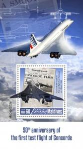 MALDIVES - 2019 - First Test Flight of Concorde  - Perf Souv Sheet - MNH