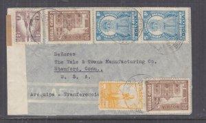 BOLIVIA, 1942 Airmail Censored cover, La Paz to USA, 10c., 40c., 2b.(2), 5b.(2)