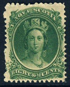 NOVA SCOTIA CANADA QV 1860 8½ Cents Deep Green on Yellowish Paper SG 14 MINT