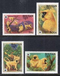 Bhutan MNH 413-6 Golden Langur Monkeys WWF 1984 SCV 6.40