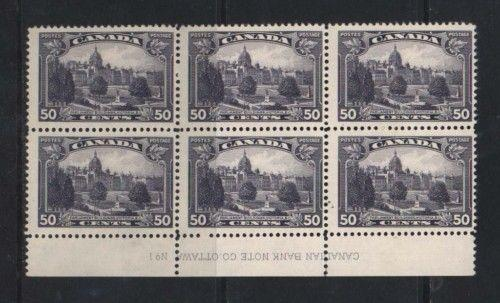 Canada #226 NH Mint Plate #1 Lower Block Of Six