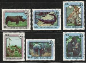 CENTRAL AFRICAN REPUBLIC  323-328  USED,  ENDANGERED ANIMALS & WILDLIFE FUND