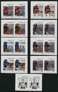 Canada 2568-76 Booklet pairs MNH CFL, Grey Cup, Football, Sports