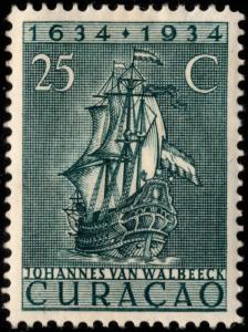 ✔️ CURACAO 1934 - DUTCH AUTHORITY SAILING SHIP - NVPH 115 * MH [012.3B28]