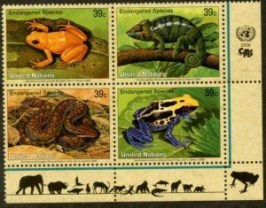 UNITED NATIONS Sc# NY 908-11 GE 453-6 VI 376-9 2006 Endangered Species BL4 MNH