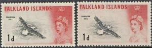 Falkland Islands 1960-1963 QEII 1d Black-Backed Gull Both Printings MUH