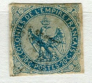 FRENCH COLONIES; 1859 early classic Imperf Eagle issue used 20c. value