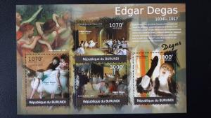 Art - Burundi 2012. - Edgar Degas ** MNH Sheet