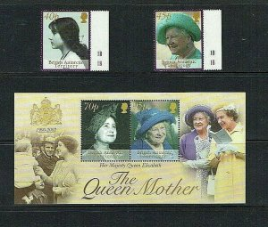 British Antarctic Territory: 2002  Queen Mother Commemoration,  MNH set + M/S