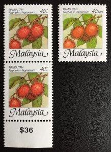 Malaysia Fruits Rambutans Definitive 40c & 40s SG#344b & 1095a M2105