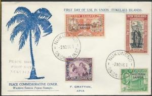 TOKELAU IS 1946 cover NUKUNONO / UNION ISLANDS cds, FDC Samoa Peace........11497