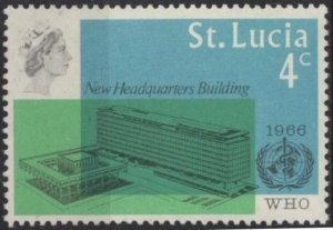 St. Lucia 209 (mlh) 4c WHO issue (1966)