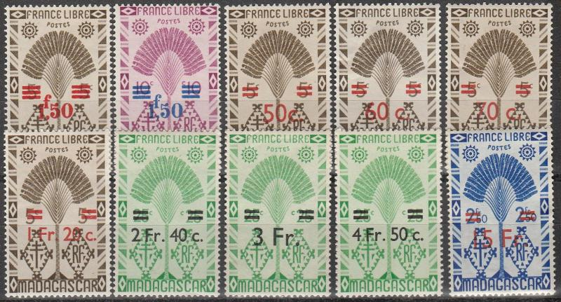 Madagascar #257-8, 261-8  F-VF Unused CV $6.75  (A11109)