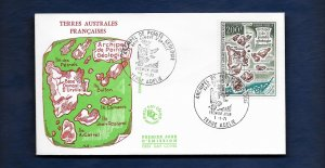 FRENCH ANTARCTIC 1971 MAP FDC