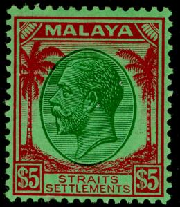 MALAYSIA - Straits Settlements SG274, $5 grn & red/emerald, VLH MINT.  Cat £130.