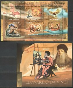 BC976 2012 MOZAMBIQUE ART SCIENCE & TECHNOLOGY LEONARDO DA VINCI BL+KB MNH