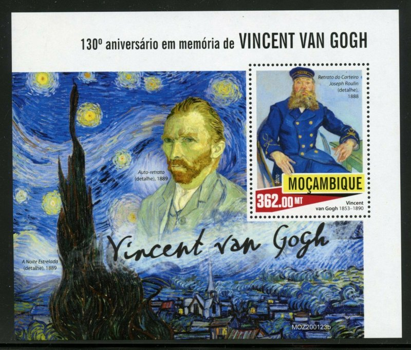 MOZAMBIQUE 2020 130th MEMORIAL  ANNIVERSARY OF VINCENT van GOGH  S/SHEET MINT NH