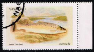 Nagaland Fantasy Stamp Salmon; CTO