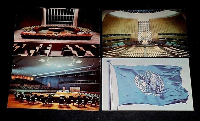UNITED NATIONS, LOT OF 4 MISCELLANEOUS. POSTAL CARDS ,MNH, NICE!! LQQK!!!