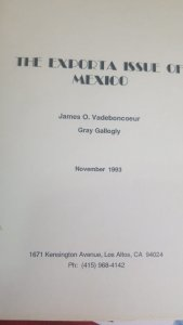 O) 1993 MEXICO, CATALOGUE, THE EXPORTA ISSUE OF MEXICO, JAMES O. VADEBONCOEUR