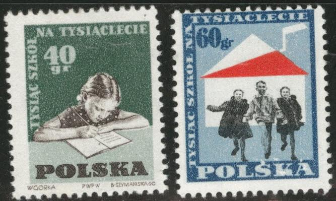 Poland Scott 878-9 MH* 1959 school stamp set