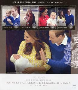 Palau Royalty Stamps 2015 MNH Princess Charlotte Birth Royal Baby 4v M/S