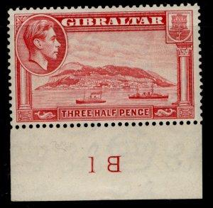 GIBRALTAR GVI SG123a, 1½d carmine, M MINT. Cat £275. PERF 13½ CONTROL