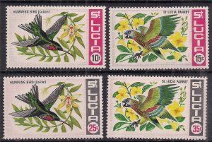 St Lucia 1969 QE2 Set of 4 stamps Parrot & Humming bird MM SG 256 - 259 ( 688 )