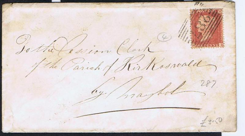 GB - Scotland 1863 E 1d red canc barred 287 of PORT GLASGOW