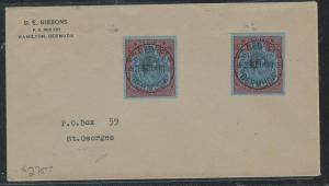 BERMUDA (P2906B) 1948  KGVI KEYPLATE 2/6 X2 SHADES ON LOCAL ST GEORGES SENT
