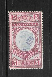 VICTORIA  1879-07  5pound   STAMP  DUTY     FISCAL