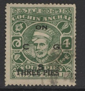 INDIA-COCHIN SGO74 1944 3p on 4p GREEN USED