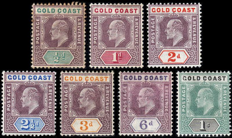 Gold Coast Scott 49-55 (1904-07) Mint H VF Complete Set, CV $269.50