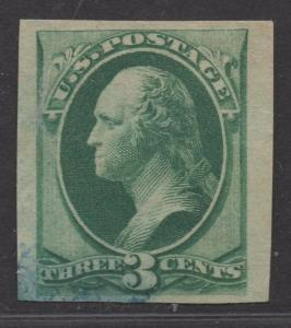 **US SC# 184p6 Used, VF+ India Paper, Bamboo Fibers, Blue Cxl, CV $250.00