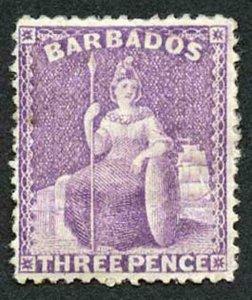 Barbados SG75 3d mauve perf 14 wmk Crown CC M/Mint Cat 170 pounds