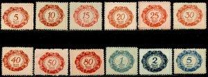 LIECHTENSTEIN Sc#J1-J12 1920 First Postage Dues Complete Set OG Mint Hinged (1b)