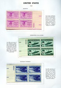 SCOTT 1089-1090-1092 PAGE OF PLATE BLOCKS W/DESCRIP GREAT FOR BEGINNERS  OG/MNH