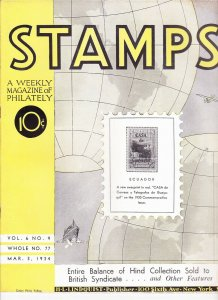 Stamps Weekly Magazine of Philately March 3, 1934 Stamp Collecting Magazine