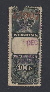 Canada Revenue W&M Stamp #FWM2-10c Used Guide Value = $60.00