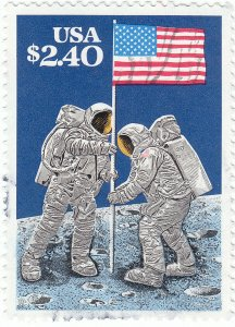 Scott # 2419 -  $2.40 Multicolored - Moon Landing - Used