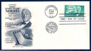 UNITED STATES FDC 4¢ George W Norris 1961 Fleetwood