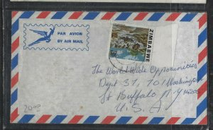 ZIMBABWE COVER (P2304B) 30C WATERFALLS A/M COVER TO USA