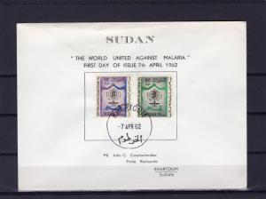 Sudan 1962 Sc#142/143 WHO (UN) MALARIA/MOSQUITO Set (2) Official FDC