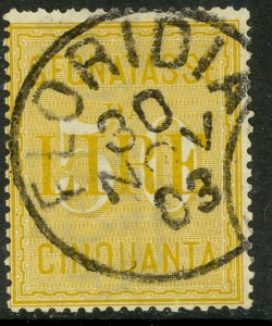 ITALY 1884-1903 50L Yellow POSTAGE DUE Sc J22 VFU FLORIDIA Postmark