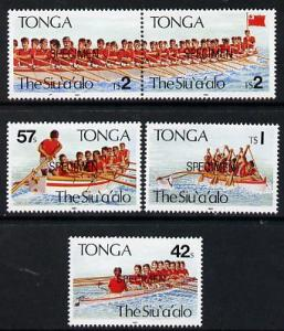 Tonga 1991 Rowing Festival set of 5 opt'd SPECIMEN, as SG...