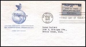US 926 United Nations House of Farnam Typed FDC