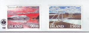 Iceland Sc 766-67 1993 bridge stamps mint NH