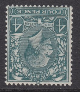 SG 379wk 4d Grey Green N23 (1) Wmk Royal Cypher inv & reversed Unmounted Mint