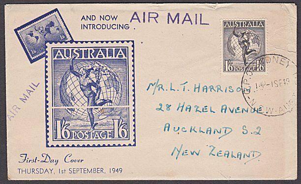 AUSTRALIA 1949 1/6d Hermes commem FDC......................................53994
