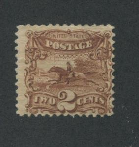 1869 US Stamp #113 2c Mint No Gum Fine Hinged G. Grill Catalogue Value $210